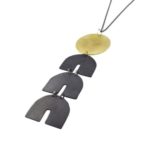 *Telesto Necklace, Brass + Oxidized Brass