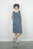 Tank Jersey Dress, Cream Stripe on Navy
