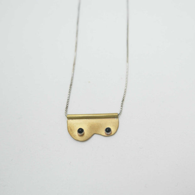 Tata Necklace, Brass +Onyx