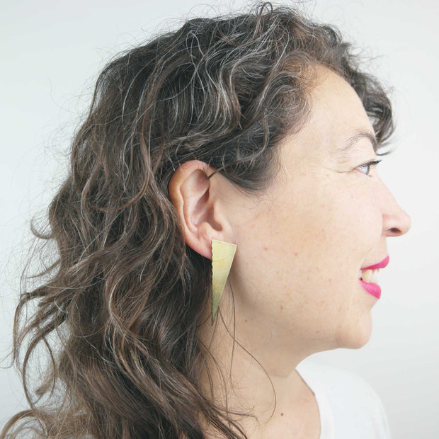 Stranger Earrings, Brass + Jade
