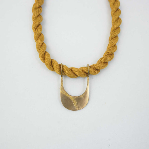 Canal Necklace, Brass + Marigold