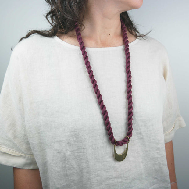 Canal Necklace, Brass + Sangria