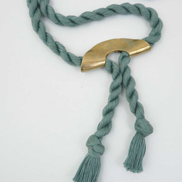 *Fold Necklace, Brass/Eucalyptus