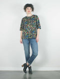 Pin Tuck Blouse, Black Floral