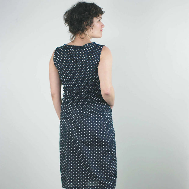 Fiji Dress, Navy Polka Dot