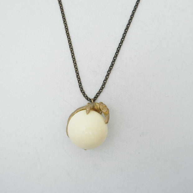 *Claw Necklace, White Lucite