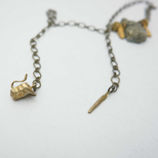 Pyrite Slab and Tablets Necklace