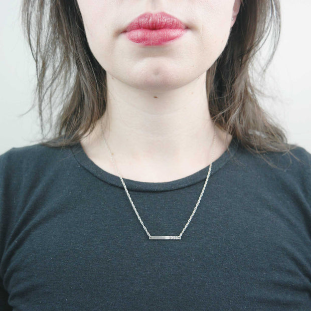 Fuck Stamped Horizontal Bar Necklace