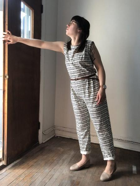 Jersey Jumpsuit in Ivory Pepita