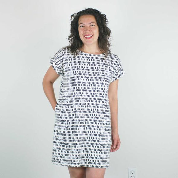 Jersey Straight Cut Dress, Ivory Pepita