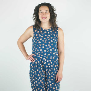 Jersey Jumpsuit in Navy Shapes