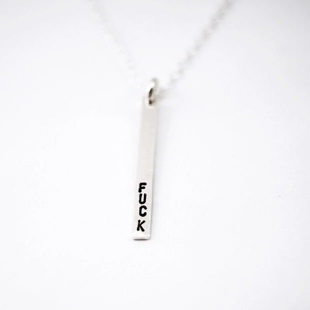 Stamped Vertical Bar Pendant Necklace F*ck