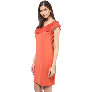Orange Self Design Dress