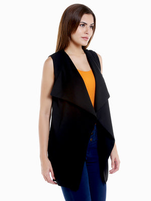 Black Solid Front Open Shrug Over