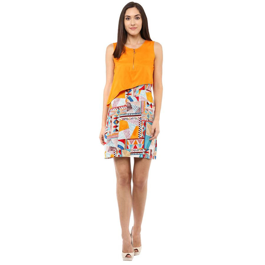 84cafcc57805 Printed   Solid Orange Layer Dress Sold Out