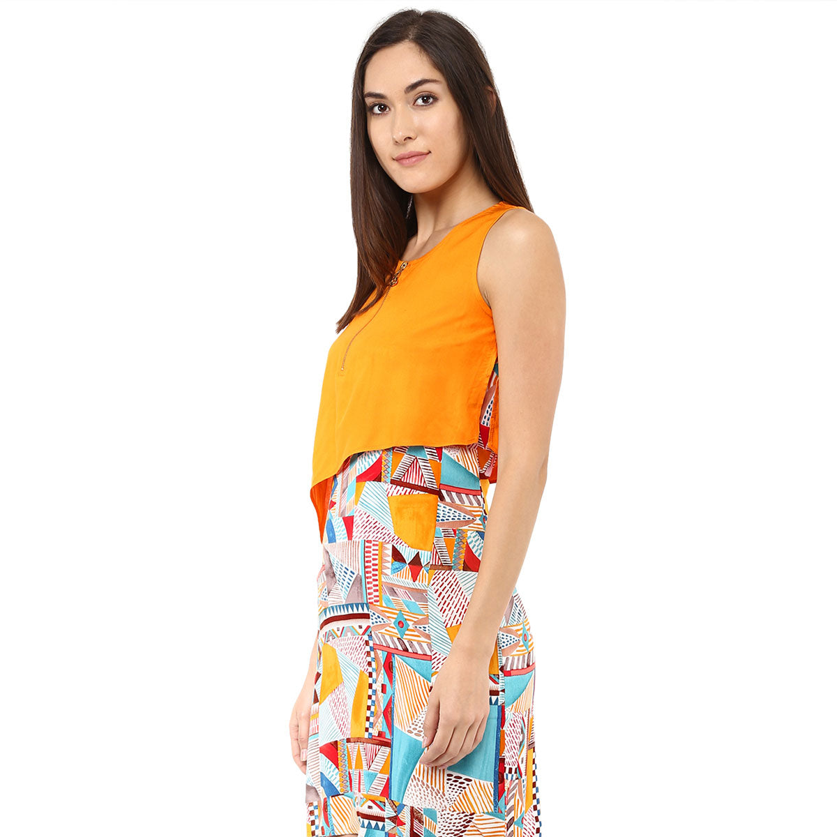 9c77423a Printed & Solid Orange Layer Dress