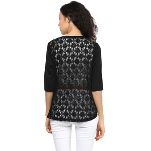 Back Self Design & Solid Black Shrug