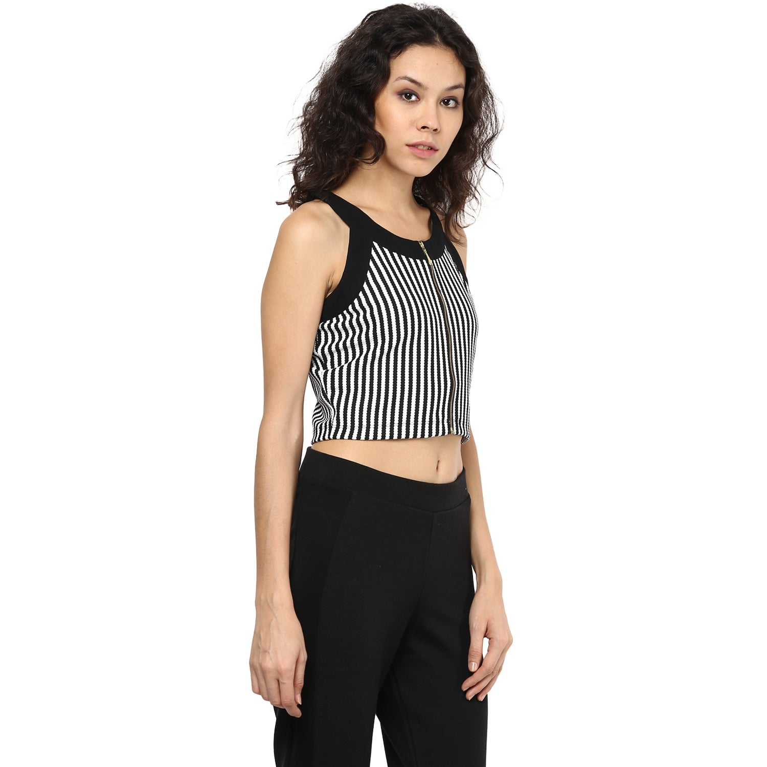 4ff171e9ae6a16 Straight Stripe With Front Open Zip Crop Top - www.109F.com
