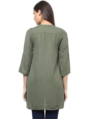 Front Zip Solid Tunic