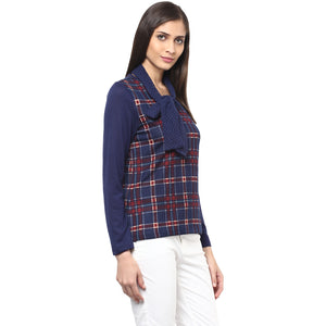 Checkered With Tie Up Neck Top
