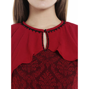 Self Design With Up Layer Red Dress