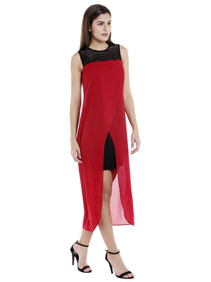 Red Solid  Maxi Dress