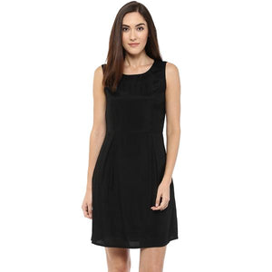 A Line Plain Black Dress