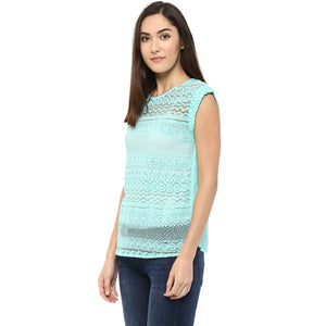 Woven Self Design Top With Cap Sleeves