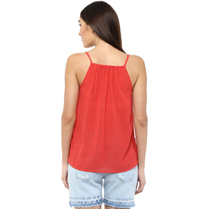 Red Tie Up Neck Top With Shoulder Strap