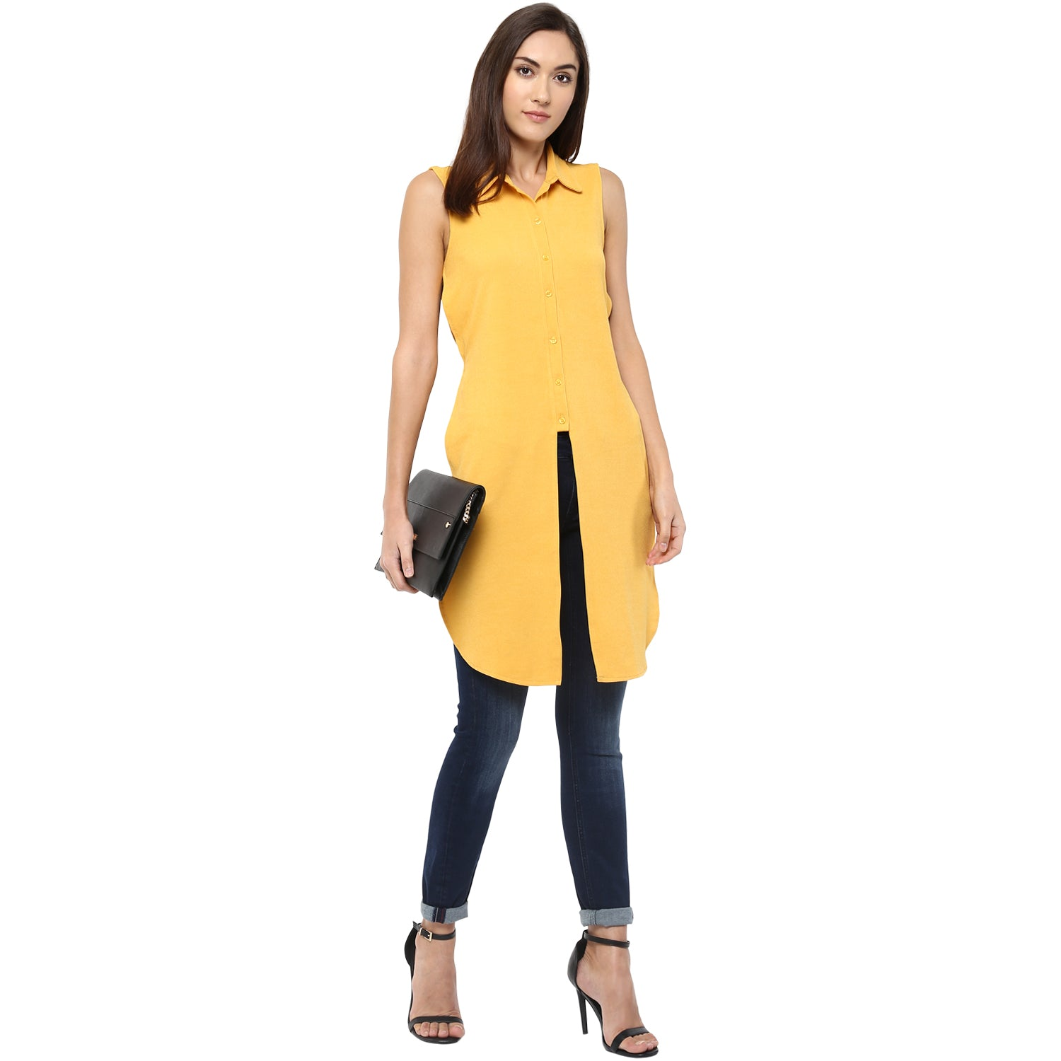 fc8bf80a31ca7e Yellow Front And Side Slit Tunic With Regular Collar - www.109F.com