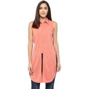 Pink Front And Side Slit Tunic With Regular Collar