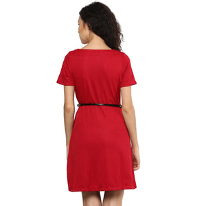 Solid Red Color Dress With Black Belt