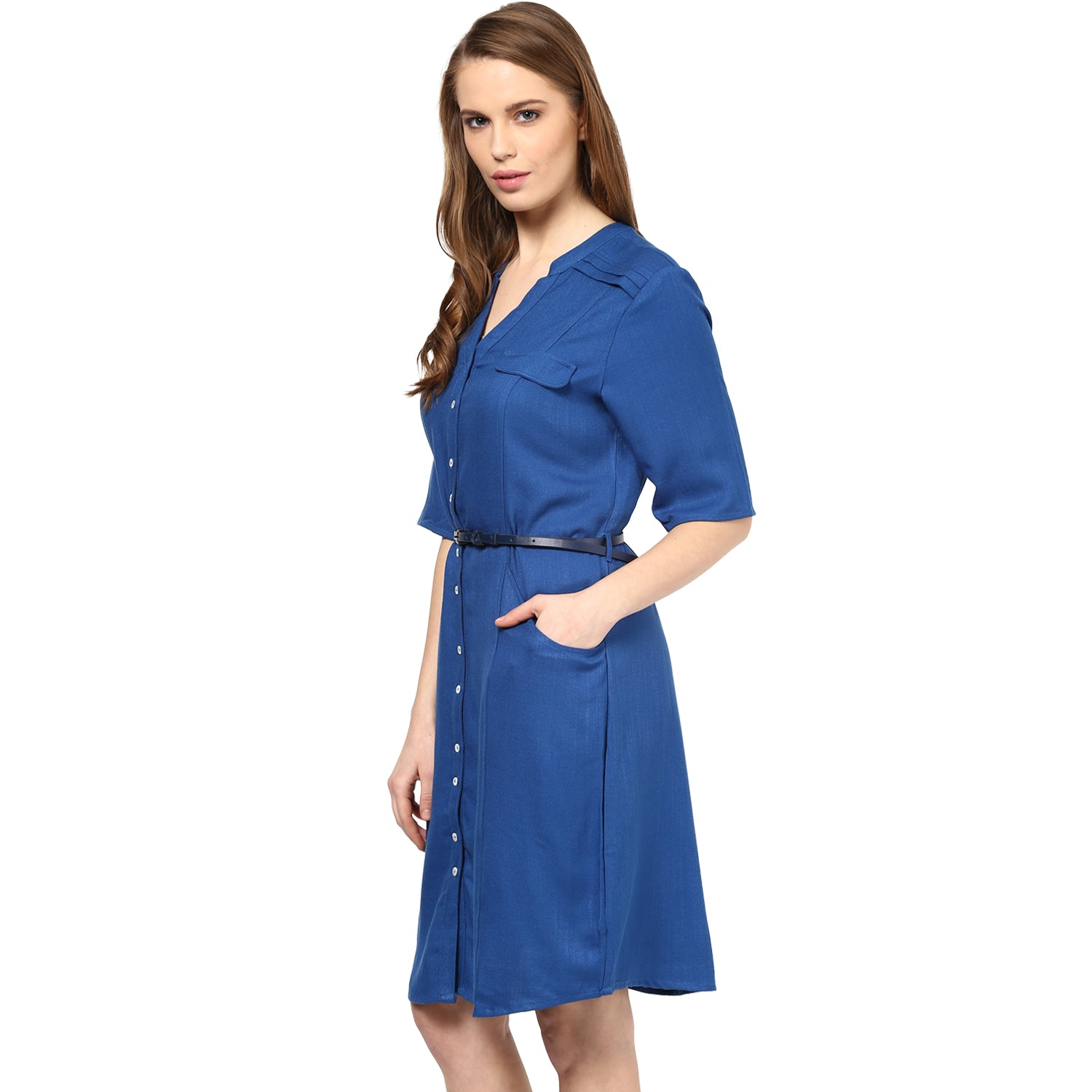 57ce8bf21a Solid Blue Color Dress