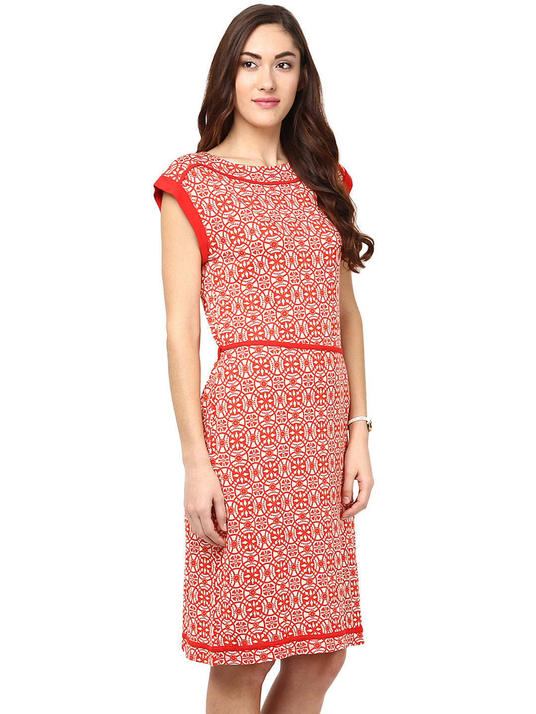 2b05f755184 Red Abstract Dress