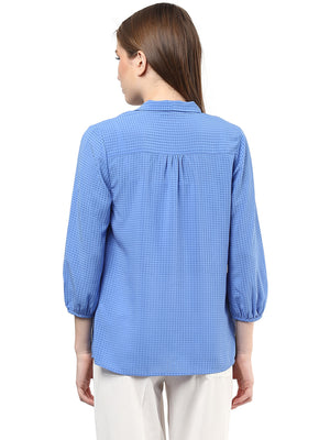 Solid Tie Up Neck Blue Top