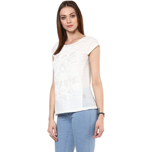 White Self Design Casual Top