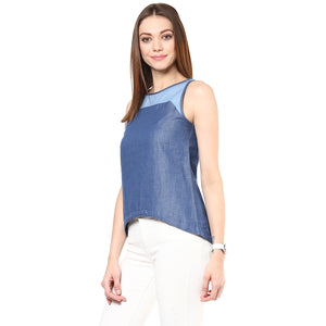 Chic Chambray Top Blue