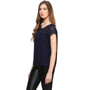 Dark Blue Solid With Self Design Top