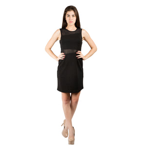 A-Line Black Solid Dress