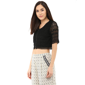 Black Lace Crop Top