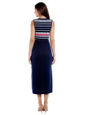 Stripe Printed Dark Blue Dress