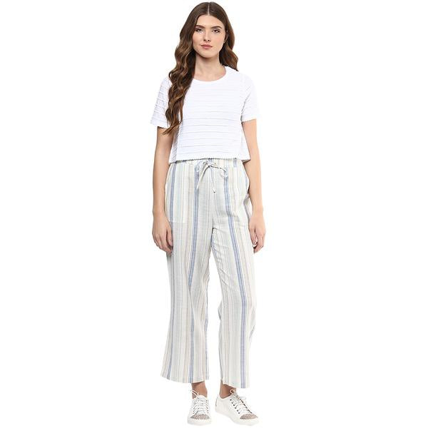 fefb01d4a870 Blue Printed Polyester Pant