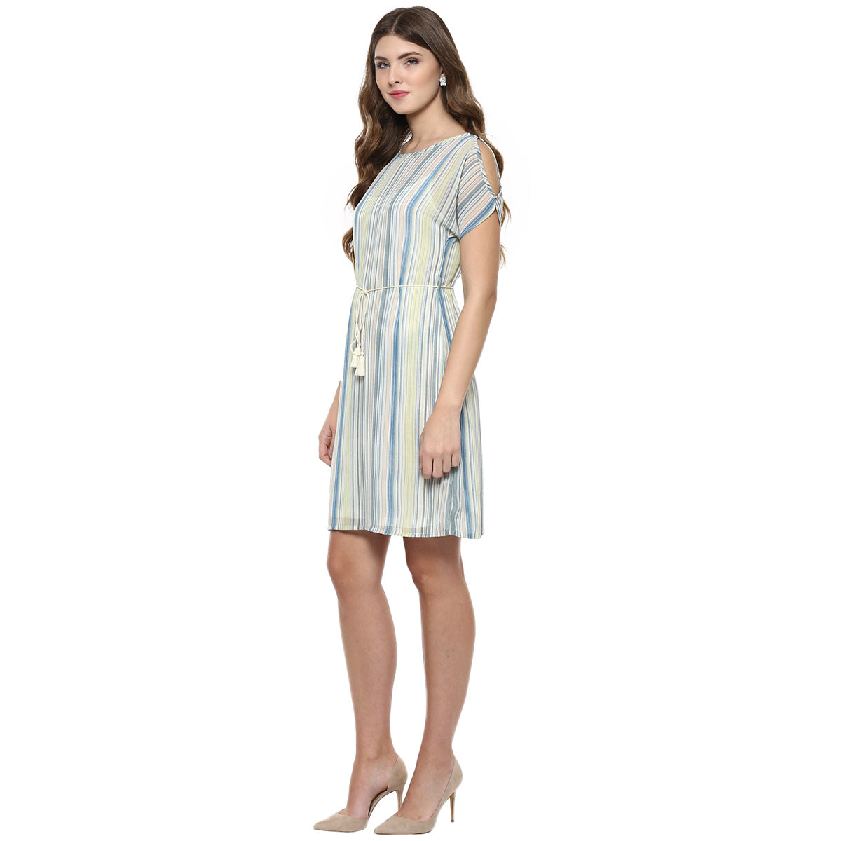 ef03a7e7f02a Stripe Cold Shoulder Dress