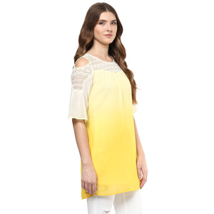 Yellow Solid With Cold Shoulder Tunic