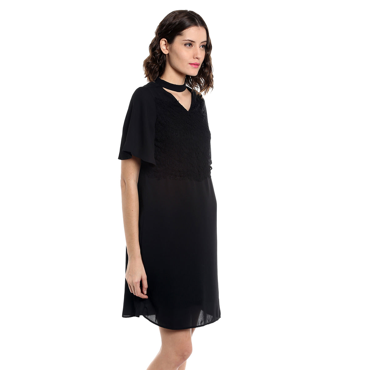 b9e907f515 Black Choker Neck Self Pattern Yoke Dress