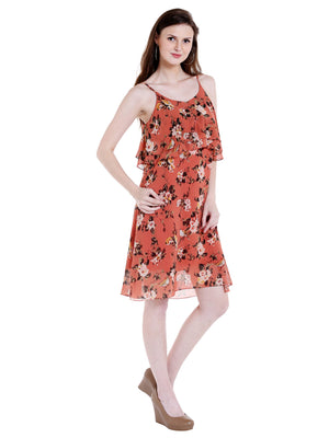 Singal Strip With Front Layer Printed Dress
