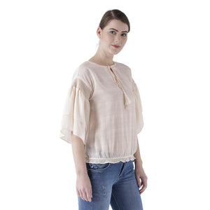 Cream Solid Top With Flared Sleeves