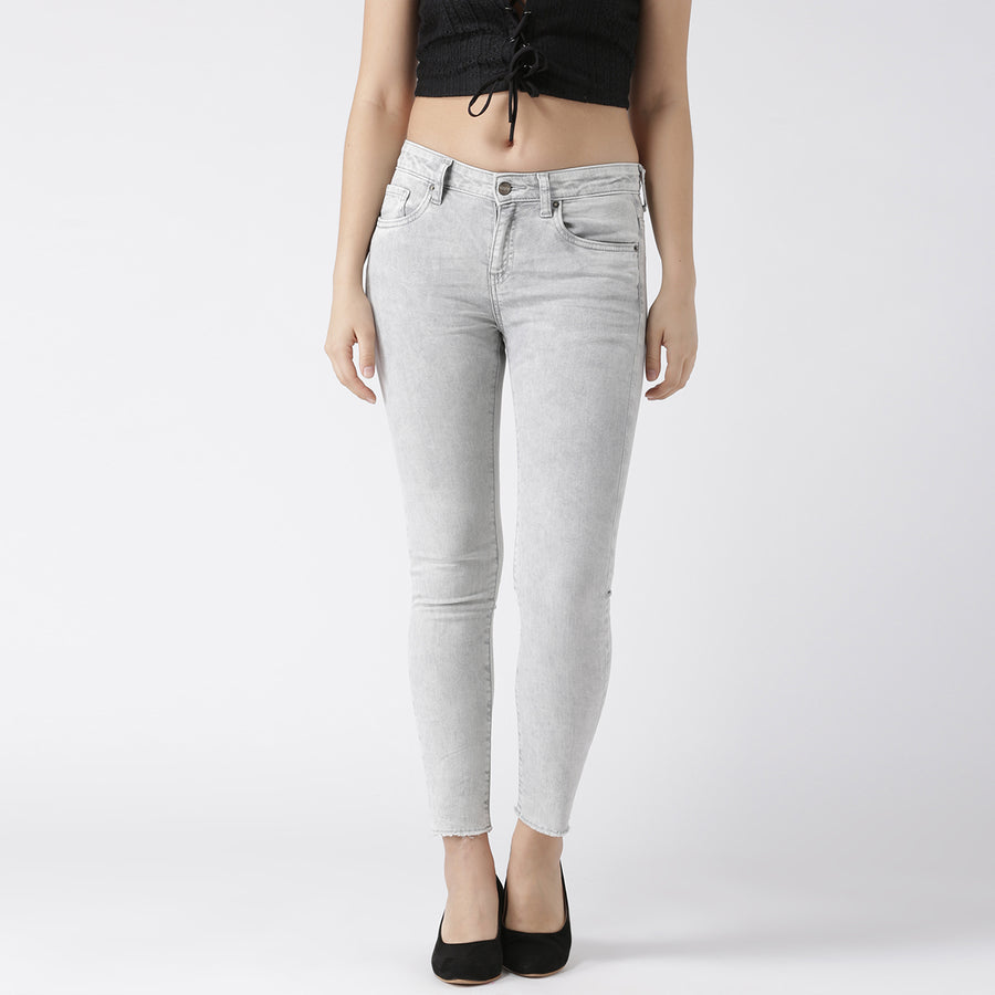 Grey Ankel Length Skinny Denim