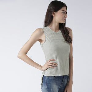 Green High Low Sleeveless Top