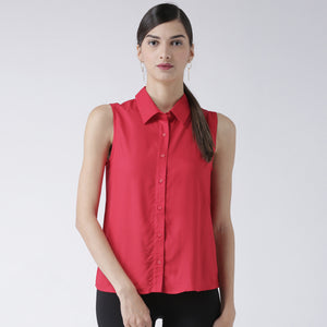 Red Solid Sleeveless Shirt